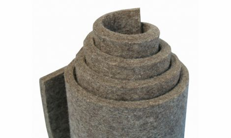 G100 - Grey, mittler Filz  (0,36 g/cm3), 100 % Wolle