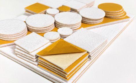 Set selbstklebende Filzgleiter - weiß, 84 Stück, verschiedene Größen